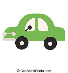 Green car flat illustration on white