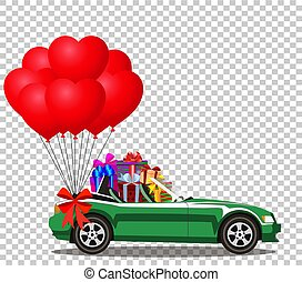 Green  car full of gifts and bunch of red balloons