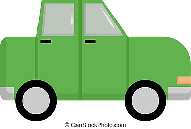 Green car, illustration, vector on white background.