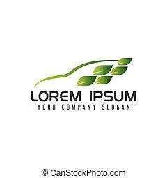 Green car logo. nature design concept template