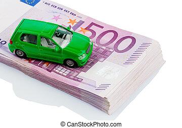 green car on banknotes