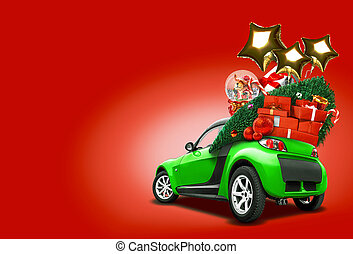 Green car on red background. Christmas tree, present boxes, balloons in form of golden stars, snow globe on roof. Collage. Copy space, close-up.
