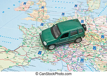 green car on the map