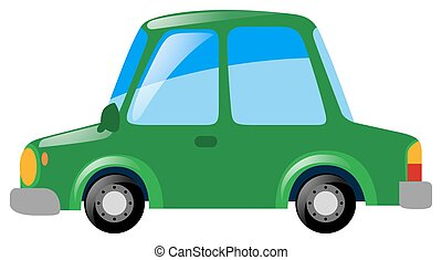 Green car on white background