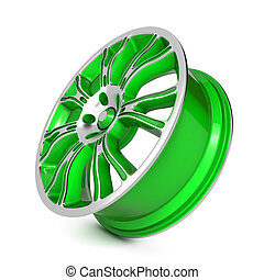 Green Car Rim. Isolated on White Background.