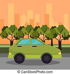 green car road street city