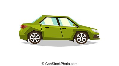 Green car sedan. Side view. Transport for travel. Gas engine. Alloy wheels. Vector illustration. Flat style