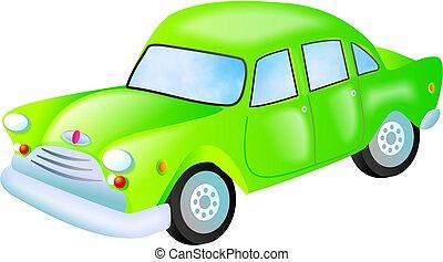 green car - stylised automobile