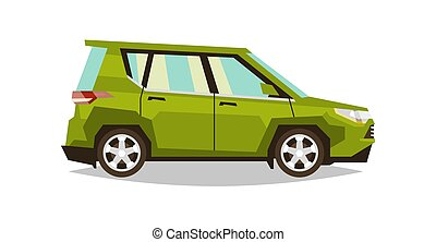 Green car SUV. Side view. Transport for travel. Gas engine. Alloy wheels. Vector illustration. Flat style