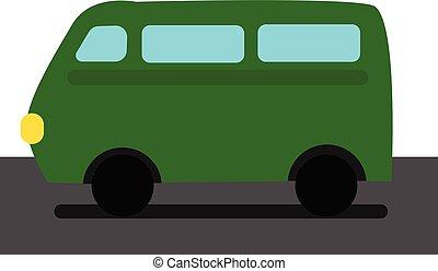 Green car, vector or color illustration. - A green coloured...