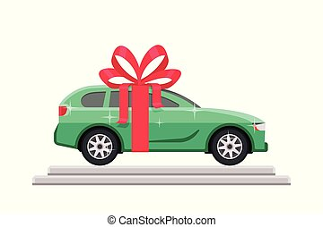 Green car with red bow on the podium in flat style. Vector illustration