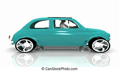 green car with rotating wheels