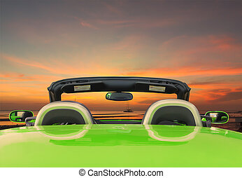 Green car with twilight background