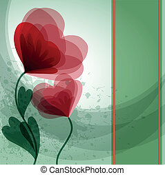 Green card with flowers