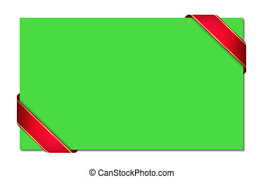 green card with red ribbon