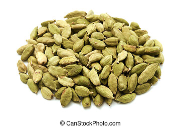 Green cardamom on a white background
