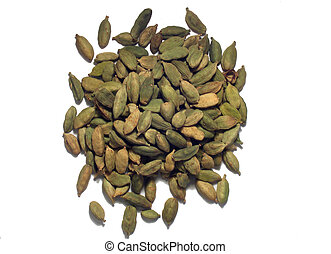 Pile of green cardamom pods on white background