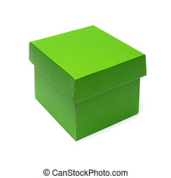 green cardboard box on a white background