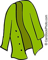 Green cardigan, illustration, vector on white background.