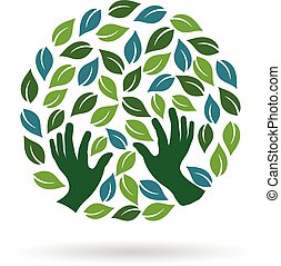 Green Care  Hands Logo. Vector graphic design illustration