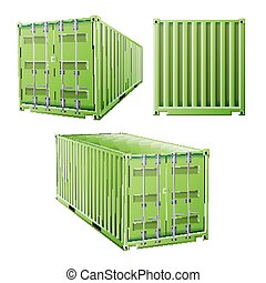 Green Cargo Container 3D Vector. Freight Shipping Container...