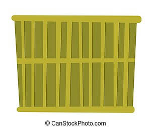 Green cargo container vector cartoon illustration.