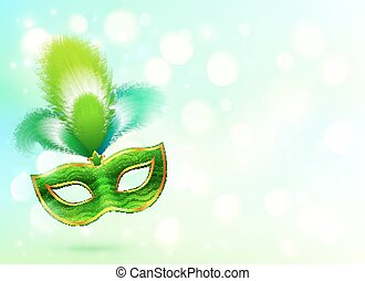 Green carnival mask with feathers banner background