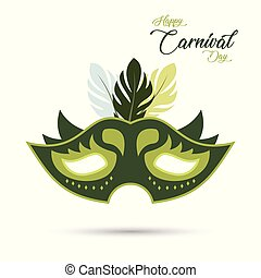 green carnival mask with green stroke and design elements having colorful feathers and green typography on white background