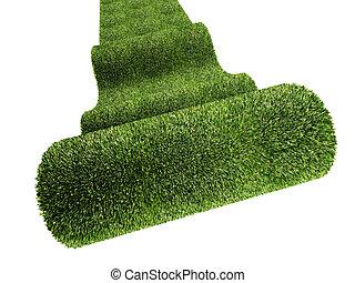 green carpet - fine 3d image of rolling green carpet on...
