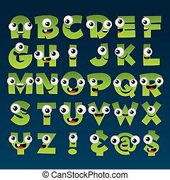 Green Cartoon Alphabet