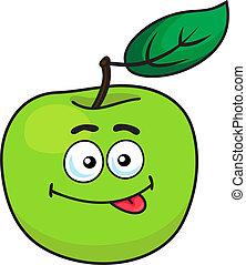 Green cartoon apple with goofy expression - Green cartoon...