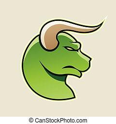 Green Cartoon Bull Icon Vector Illustration
