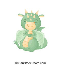 Green cartoon cute dragon sitting with eyes closed. Vector illustration on white background.