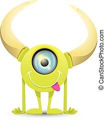 Green Cartoon cute monster