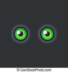 Green Cartoon Eyes on Dark Background. Vector