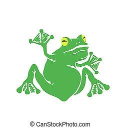Green Cartoon Frog Isolated