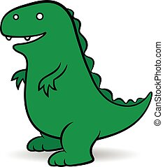 Green cartoon Godzilla monster - Green cartoon Godzilla, a...