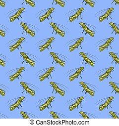 Green Cartoon Grasshoppers Seamless Pattern