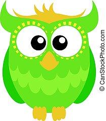 Green cartoon owl