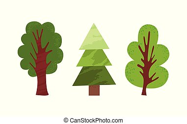 Green Cartoon Trees in Flat Style Isolated. Vector
