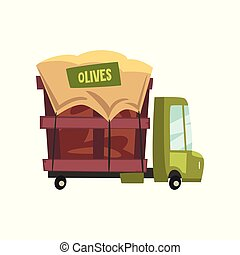 Green cartoon truck with olives, car for the transport of harvest vector Illustration on a white background