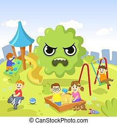 Green cartoon Virus floating over the playground full of children. Stay home concept. Ncov, covid 2019, coronavirus pandemic. Cartoon flat vector illustration.