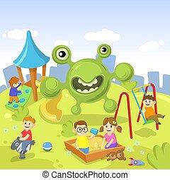Green cartoon Virus monster standing on the playground full of children. Stay home concept. Ncov, covid 2019, coronavirus pandemic. Cartoon flat vector illustration.