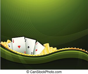 Green casino gambling background elements