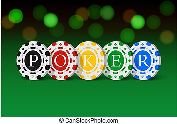 Green casino table with POKER word made of casino chips. Vector gambling illustration.