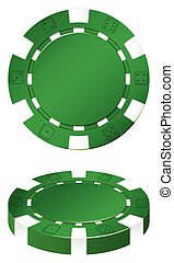 Green casion chips on white illustration