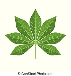 Green Cassava Leaf Icon in flat style isolated on white background.