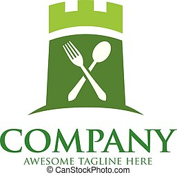 green castle and food logo