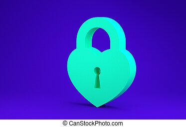 Green Castle in the shape of a heart icon isolated on blue background. Locked Heart. Love symbol and keyhole sign. Minimalism concept. 3d illustration 3D render