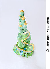 Green Castle on White Background